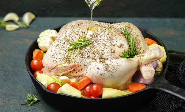 chicken along with olive oil