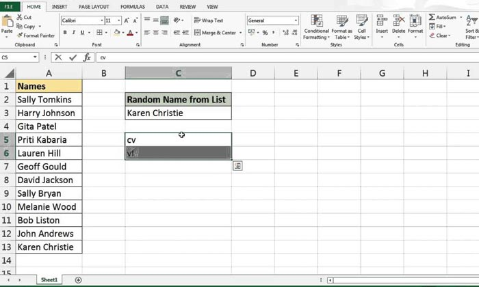 Selecting A Random Name In Excel